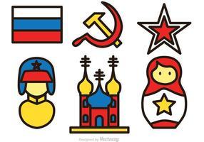 Icone colorate di vettore russo