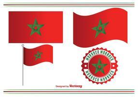 Insieme di vettore della bandiera del Marocco