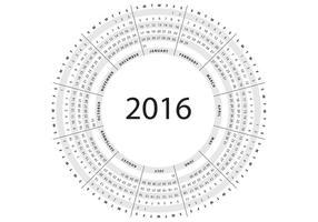 Vettore grigio del calendario circolare 2016