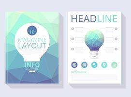 Vettore di layout rivista astratta poligonale