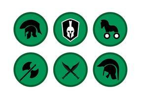 Vettori di simboli di cavallo di Troia e spartani