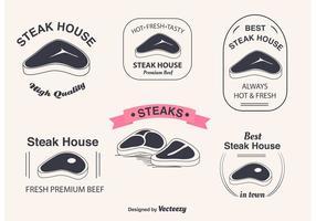 Etichette vettoriale di bistecca con l'osso a T
