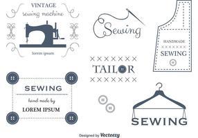 Set di etichette e emblemi di cucito vettoriale