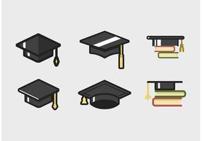 Set di icone di cappello laureato