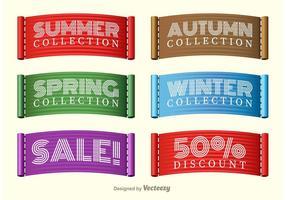 Vettori di etichette di raccolta vendita stagioni stagionali