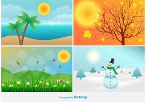 Illustrazioni del paesaggio di quattro stagioni vettore