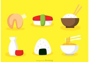 Icone piane di cibo asiatico di vettore