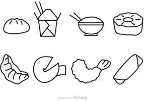 Icone di vettore di cibo cinese di contorno