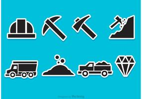 icone di vettore di miniera di diamante