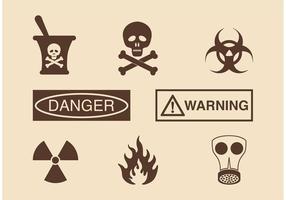 Icone di vettore di pericolo e di avvertimento