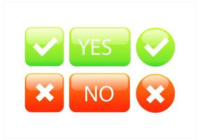 Set di pulsanti errati corretti