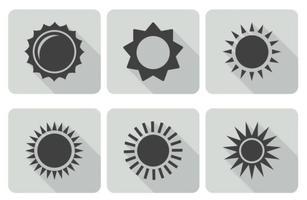 Set di icone del sole alla moda vettore