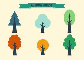 Vettori di alberi stagionali colorati