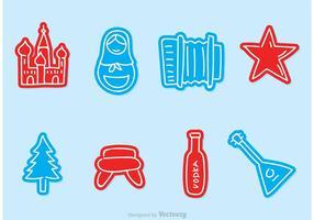 Icone di vettore di Doodle russo