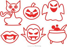 Icone rosse di vettore di Halloween