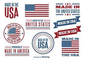Made in USA Set di etichette vettore