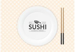 Logo libero dei sushi sul vettore del piatto di carta