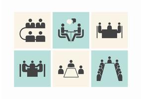 Icone di vettore delle tabelle di riunione d'affari