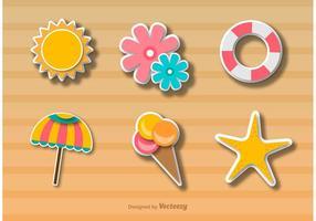 Stile adesivo di icone tempo spiaggia vettore