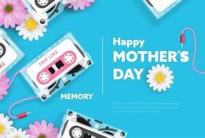 banner festa della mamma con cassetta nastro e fiori vettore