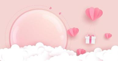 poster di copertina palloncini cuore, regalo, nuvole e vetro vettore