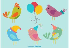 Illustrazioni di uccelli di compleanno vettore