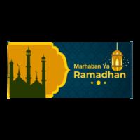 banner ramadan ornato blu e giallo con moschea vettore