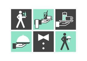 Icone di vettore di servizio maggiordomo