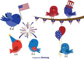 4 luglio Cartoon degli uccelli vettore