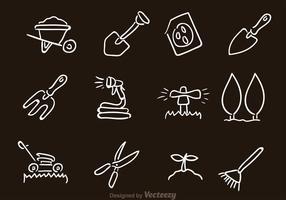 Icone di attrezzature da giardinaggio vettoriale