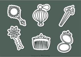 Icone degli accessori della donna dell'annata di vettore