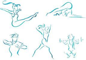 Illustrazioni di fitness di donne vettoriali schizzo gratis