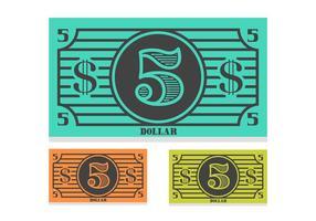 Vettore della banconota da 5 dollari