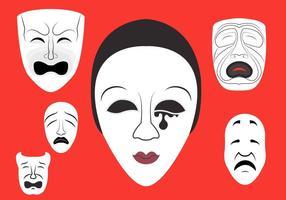 Illustrazione vettoriale di maschere teatrali