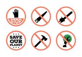 Stop Segni di deforestazione vettoriale