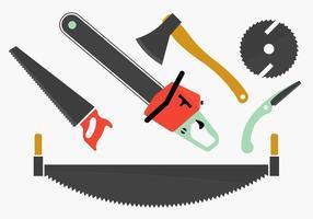Collezione di strumenti per la lavorazione del legno. vettore