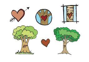 Serie di vettore di albero intagliato cuore libero