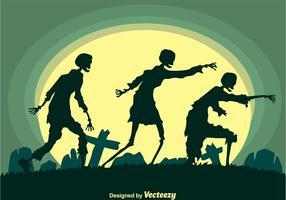 vettore di sagoma di zombi ambulanti