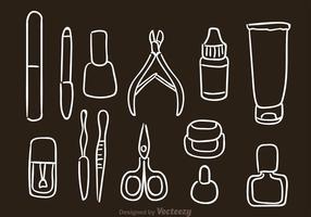 Icone disegnate a mano di vettore di pedicure del manicure