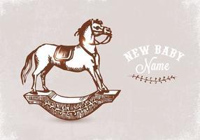 Vettore disegnato a mano libera del cavallo a dondolo