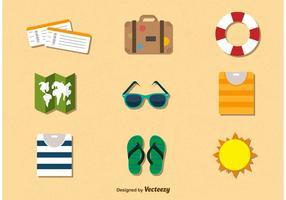 Vacanze estive viaggio icone di colore vettore