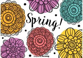 Fiori di primavera Doodle vettore