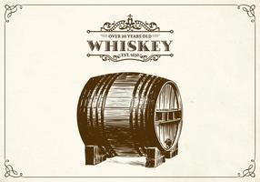 Vettore disegnato a mano del barilotto di whiskey
