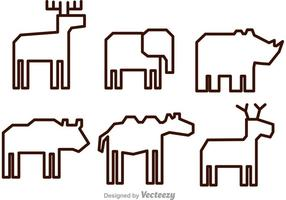 Icone di vettore animale contorno
