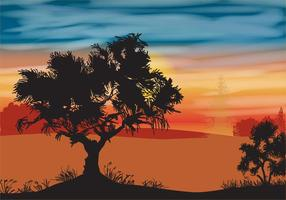 Paesaggio con albero di quercia vettore