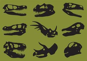Vettori della siluetta del cranio del dinosauro