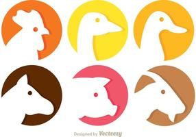 Icone di vettore di testa di animale