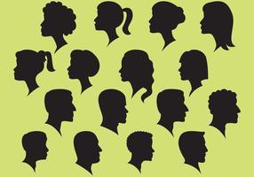 Vettori di donna e uomo e silhouette