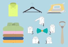 Insieme di vettore della camicia piegata colorata e degli accessori differenti