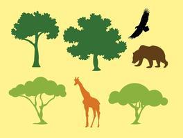 Silhouette vettoriali di alberi e animali